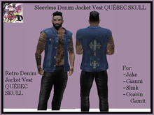 Sleevless Denim Jacket Vest QC SKULL (ADD ME)