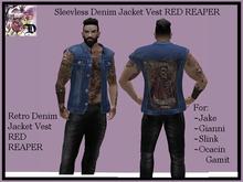 Sleevless Denim Jacket Vest RED REAPER (ADD ME)