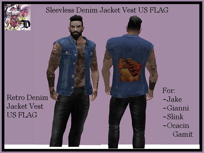 Sleevless Denim Jacket Vest US FLAG (ADD ME)