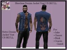 Sleevless Denim Jacket Vest US SKULL (ADD ME)