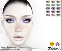 Zibska ~ Xenia Eyemakeup in 15 colors with Omega appliers, tattoo and universal tattoo BOM layers