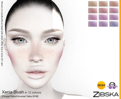Zibska ~ Xenia Blush in 12 colors with omega applier, tattoo and universal tattoo BOM layers
