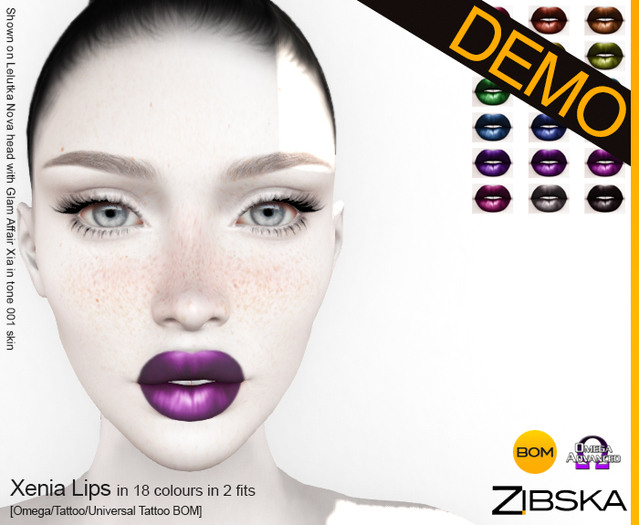 Zibska ~ Xenia Lips Demo [omega applier/tattoo/universal tattoo BOM]