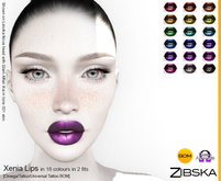 Zibska ~ Xenia Lips in 18 colors in 2 fits with Omega appliers, tattoo and universal tattoo BOM layers