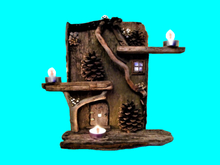 """HOME DECOR Hanging Wall Art """"Reclaimed Driftwood Pinecone Candle Cabin Shelf"""" 3D look Flat Alpha Decal copy/mod 1 prim"""