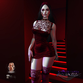MORBID MAUSOLEUM Charlene Lace and Satin Dress - Scarlet - Legacy Mesh Body & Maitreya