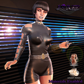 MORBID MAUSOLEUM Resistor Cyber Sci-fi Bodysuit - Onyx - Legacy Mesh Body & Perky