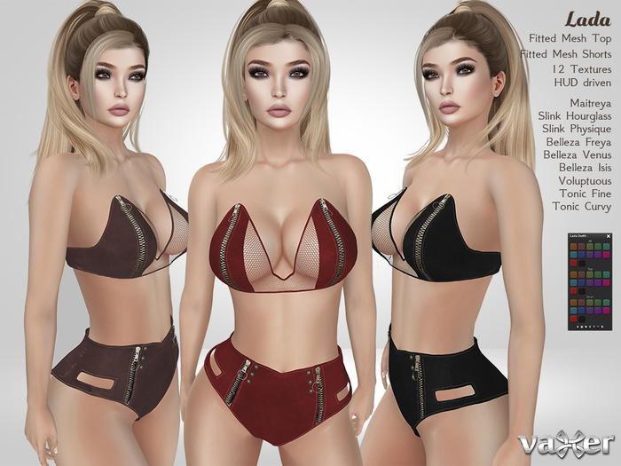 Vaxer : Lada Outfit- Maitreya, Slink (P, H), Belleza (V, I, F), Tonic (C, F) and Voluptuous. 12 Text.