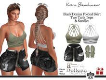 Kona Black Denim Folded Skirt Outfit