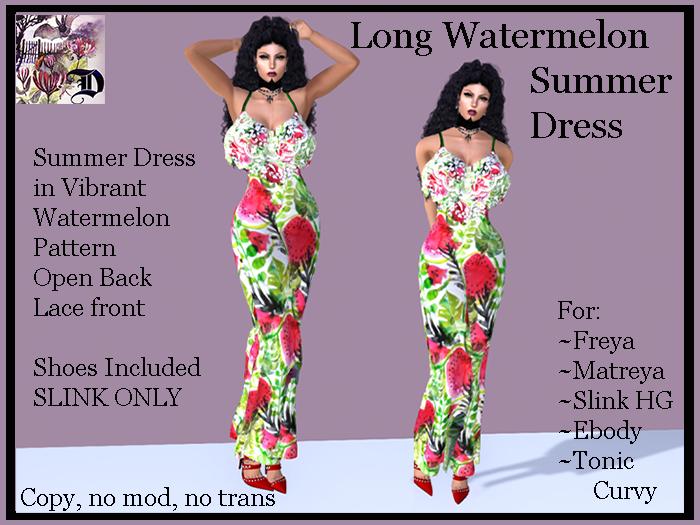 Long Summer Watermelon Dress (ADD ME)