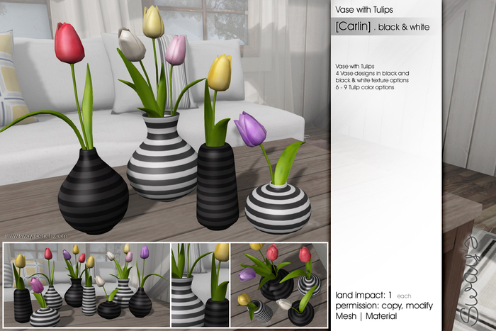 Sway's [Carlin] Vase with Tulips . black & white