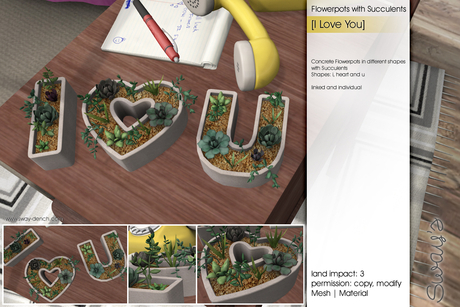 Sway's [I Love You] Flowerpot with Succulents