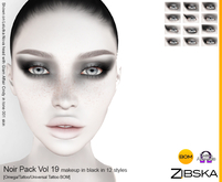Zibska ~ Noir Pack Vol 19 Black Makeup in 12 Styles with Omega applier, tattoo & universal tattoo BOM layers