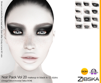 Zibska ~ Noir Pack Vol 20 Black Makeup in 12 Styles with Omega applier, tattoo & universal tattoo BOM layers