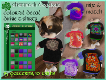 <SB> Colorful Decal Teeshirt w HUD - 15 prints, 10 colors trim