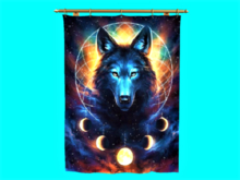 MESH Tapestry Moon Wolf Dream Catcher Gold Brass Rod 1.8x2.2m, 1 LI, copy/mod, hanging cloth home banner wall decor