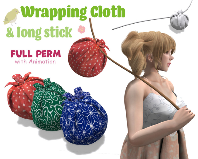 [ FULL PERM ] Wrapping cloth & long stick