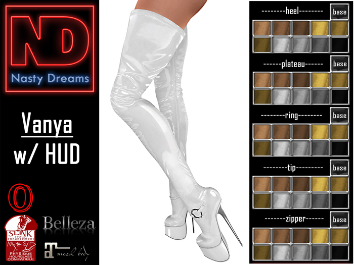 Nasty Dreams - Vanya Latex Boots White