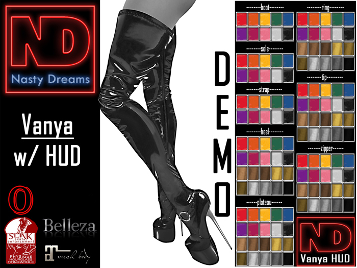 Nasty Dreams - Vanya Latex Boots DEMO