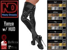 Nasty Dreams - Vanya Latex Boots Black