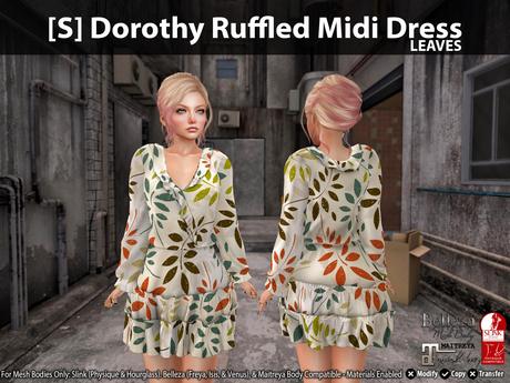 [S] Dorothy Ruffled Midi Dress Leaves