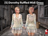 [S] Dorothy Ruffled Midi Dress Chevron