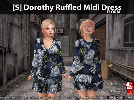 [S] Dorothy Ruffled Midi Dress Floral