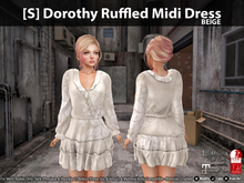 [S] Dorothy Ruffled Midi Dress Beige