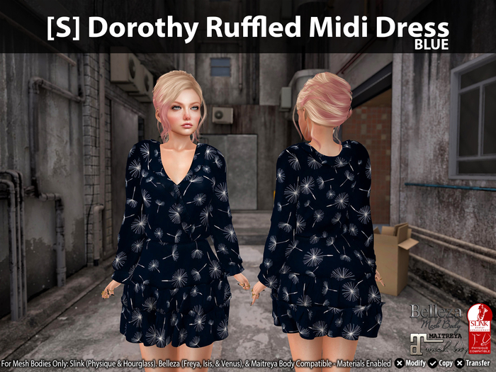 [S] Dorothy Ruffled Midi Dress Blue