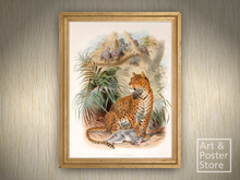 Leopard (Felis Pardus) | Vintage Zoological Illustration | Light Wood Frame