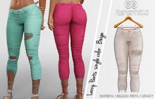 LARCY FEMALE BEIGE CAPRI PANTS - MESH - MAITREYA - BELLEZA FREYA - LEGACY - FashionNatic