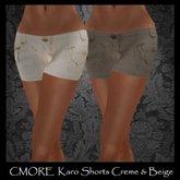 CMORE - Karo Shorts Creme & Beige