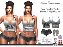 Kona Grey Graphic Tank and Shorts Outfit
