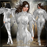 {AS} Battle Angel Fitted Mesh Outfit: Silver White; Guardian Angel, Fairy, Warrior, Valkyrie, Bento Wings, Maitreya