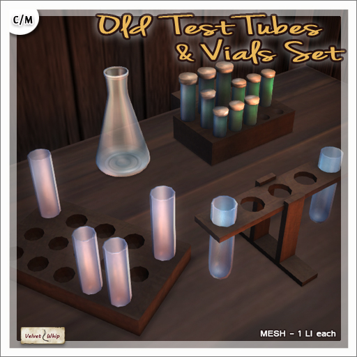 [V/W] Old Test Tubes & Vials Set - 4 separate items, 1 LI each - Mesh props