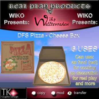 WIKO presents DFS Pizza - Cheese Box * 6 USES * LOOK REAL & YUMMY * Can eat, use for decoration, real play & more