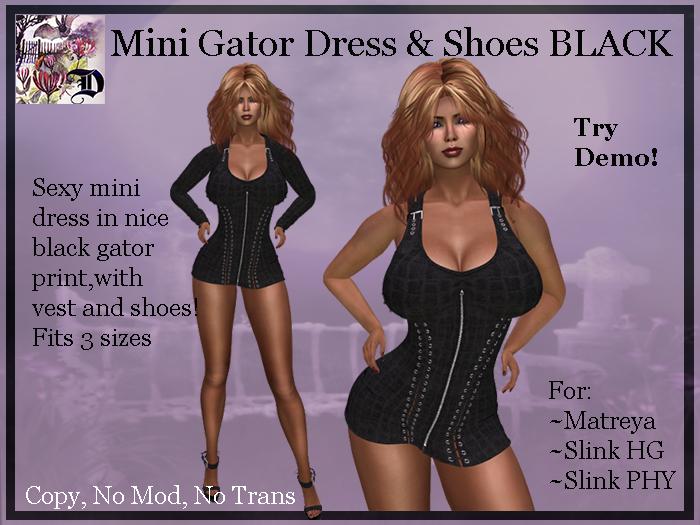 Mini Gator Dress & Shoes BLACK