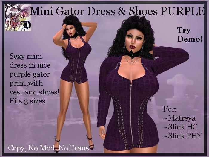 Mini Gator Dress & Shoes PURPLE