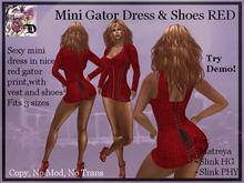 Mini Gator Dress & Shoes RED