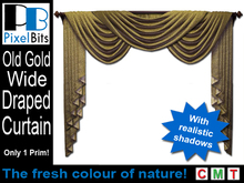 Wide Draped Curtain - Old Gold