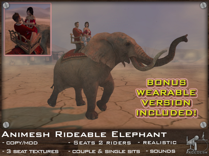 FaceDesk - Rideable Animesh Elephant 2 riders!  Wearable bonus!