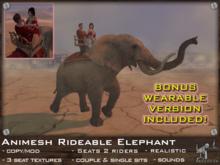 FaceDesk - Rideable Animesh Elephant 2 riders!  Wearable bonus!