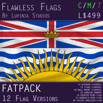 British Columbia, Canada Flag (Fatpack, 12 Versions)