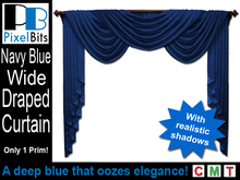 Classy Wide Draped Curtain - Navy Blue