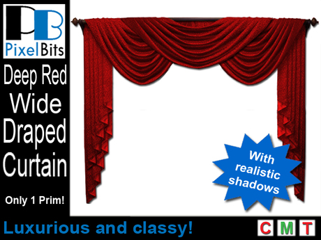 Elegant Wide Draped Curtain - Red