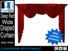 Elegant Wide Draped Curtain - Red