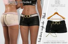 FRIDA FEMALE BLACK COLOR SHORTS - MESH - Maitreya Lara, Belleza Freya, Legacy - FashionNatic