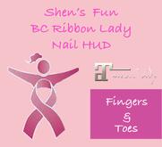 Shen's Fun Breast Cancer Ribbon Lady Nail HUD Maitreya Only