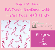 Shen's Fun  Pink Ribbons with Heart Dots HUD