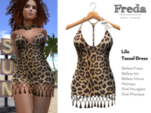 """""""Freda"""" Lilo Tassel Dress sexy Leopard Print Jersey with knotted Rope Fringes for Summer Beach, Belleza Maitreya Slink"""